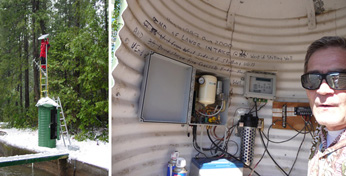 photo of gaging station exterior and interior telemetry