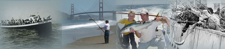 Four photos: party boat full of anglers; angler on beach near Golden Gate Bridge; man and child holding fish aboard a boat; ocean pier crowded with anglers