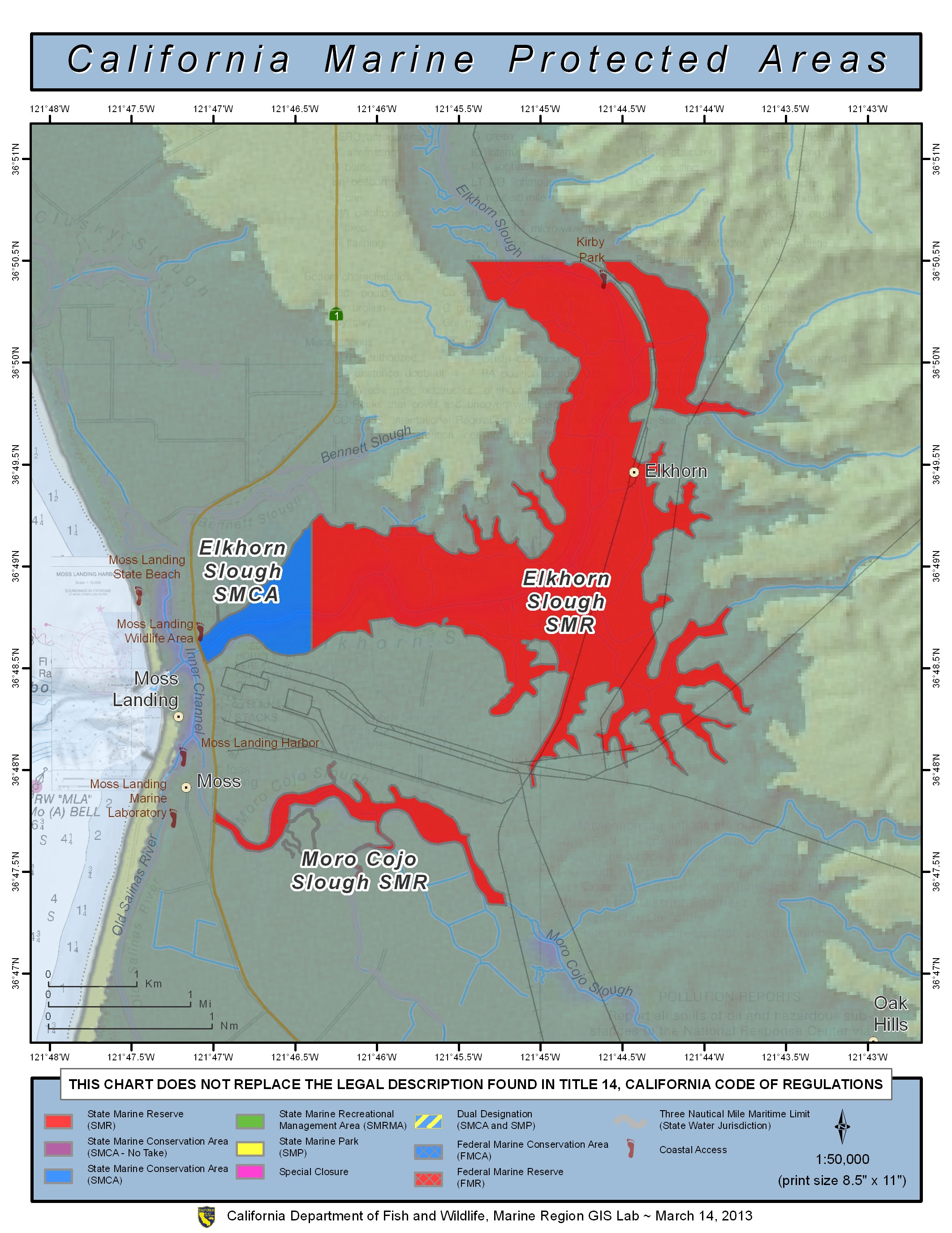 Current ocean fishing regulations central management area for California fishing limits