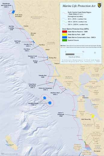 Map of North Central Coast Marine Protected Areas